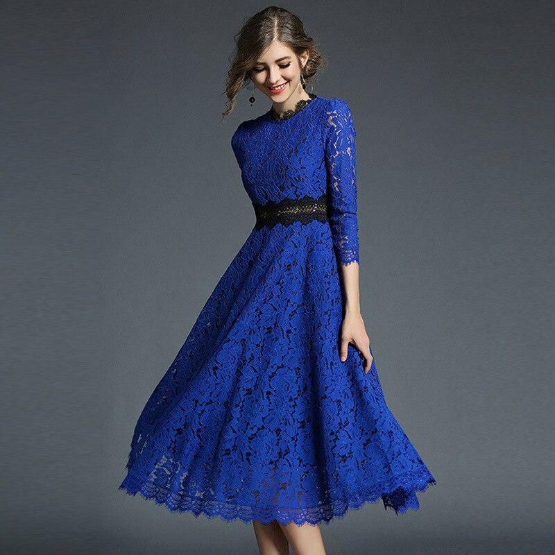 Brand 2018 Spring Ukraine women three quarter elegant lace dress,blue khaki color vintage Hollow  lace long party dresses