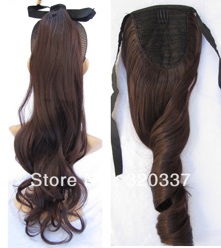 Fashion Ribbon Ponytail Hair Ponytail Extensions Loose Wavy Ponytail Holder  Synthetic Hair Extension for Women  2 33 Dark Brown 17819e21e66