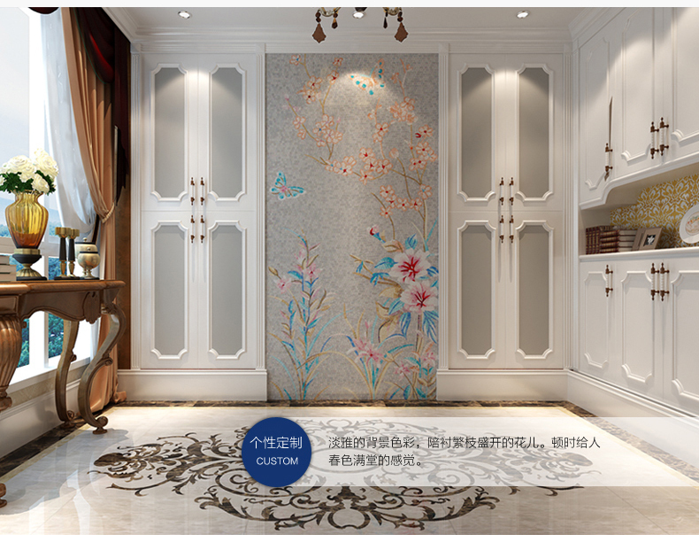 aliexpresscom buy spring nature scenery painting puzzle art mosaic grey background butterfly flower home interior wall design bathroom tiles hotel from - Home Interior Wall Design
