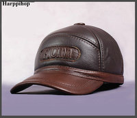 HARPPIHOP New Design Men S 100 Genuine Leather Cap Newsboy Beret Cabbie Hat Golf HatS