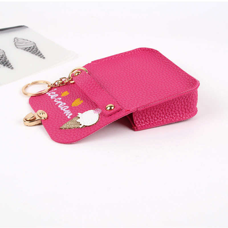 a5c43f5b66 BONAMIE New Cute Ice Cream Embroidery Kids Coin Purse With Lock Pu Leather  Change Coin Bag Wallet For Women Lady Small Money Bag