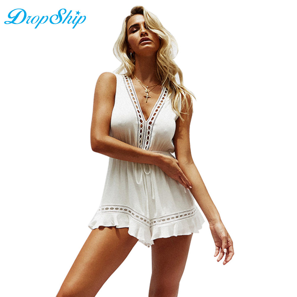Streetwear Hollow Out White Short Rompers V-neck Sleeveless Bodycon Sexy Jumpsuits For Women 2018 Party Beach Playsuit Overalls