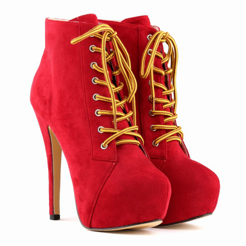 New high heels red sexy faux suede women shoes thin heel lace-up winter velvet black ankle boots European and American style