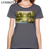 Nie Verblassen Land Ölgemälde T Shirts Für Frauen Künstlerische Design 100% Baumwollgewebe Kleidung Bunte Blumen Print T-Shirt