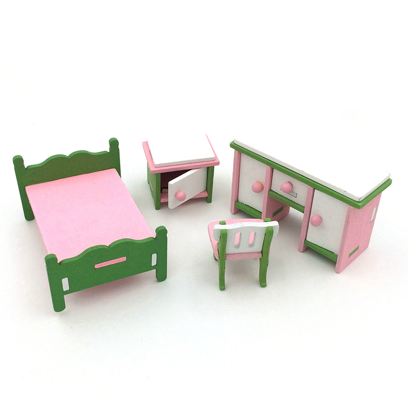 4pcs/set Kids 1:16 Miniature Wooden Imitate Doll Houses Furniture Household Toys Bathroom Set Bathtub Closest Toy P15