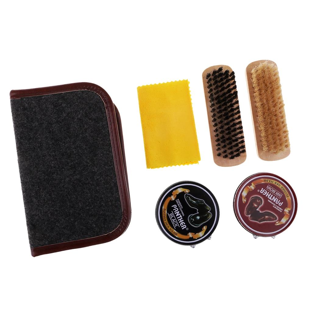 6pcs Shoe Shine Care Kit Black Dark