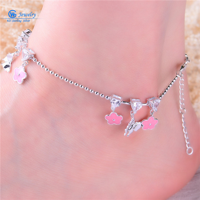 Gw Fine Jewelry Fashion 925 Silver Foot Chain Butterfly And Flower Girl Pink Anklet Chain 925 Pure Real Silver Anklet Ac002H20