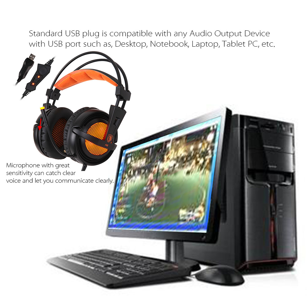 SADES A6 USB 7.1 Stereo wired gaming headphones game headset over ear with mic Voice control for laptop computer gamer 5