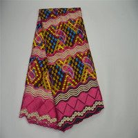 Mr Z Super Print Java Ankara Fabric With Lace Embroidered Multicolor Nigerian Wax Guipure Lace Fabric