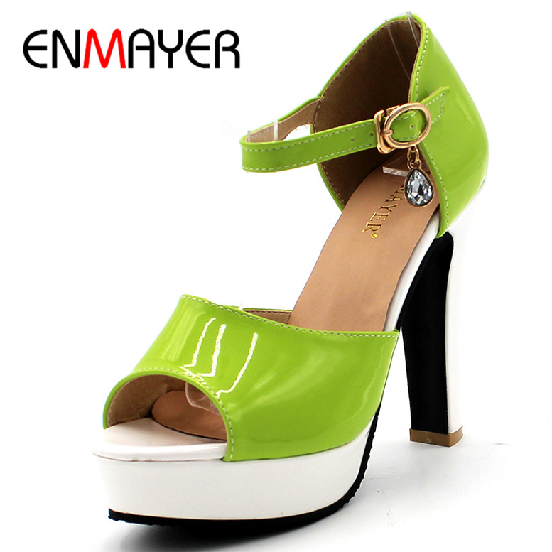 ENMAYER Green Yellow Orange Summer Sandals Pumps Shoes Woman High Heels Peep Toe Ankle Strap Platform Shoes Plus Size 34-43 enmayer fashion summer shoes woman high heels wedges sansals women hook&loop nubuck peep toe platform sandals big size 34 43