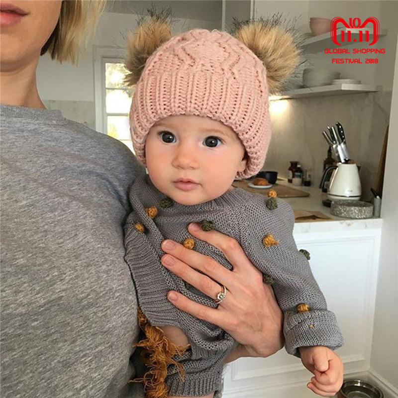 69c5df9eda7 ... Baby Boy girl Winter Warm Knit Beanie Hat Winter infant Hat Double  Pompom Hats Fur Ball
