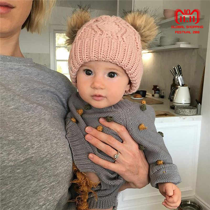 a50d5244ffd Baby Boy girl Winter Warm Knit Beanie Hat Winter infant Hat Double Pompom  Hats Fur Ball