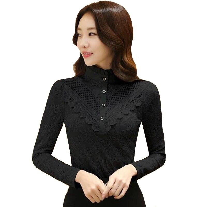 Blusas Blouse Shirt Plus Velvet Thick Lace Shirt Autumn and Winter Korean Long Sleeved High-neck OL Chiffon Blouses Plus Size