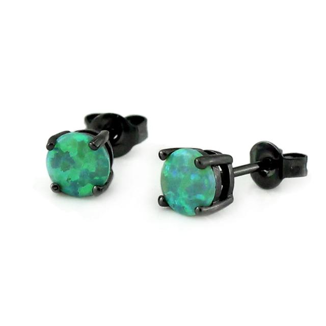 Synthetic Green Fire Opal Earring Black Gold Color Stud Earrings Oe269