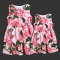 Children 's dress skirt summer women girl family matching clothes mother and daughter A dress vest skirt rose Red printed dress