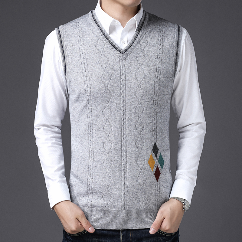 Mens New Fashion Design Plaid Cashmere Sweater Vest Male V-neck Plaid Sleeveless Wool Sweater Pullovers