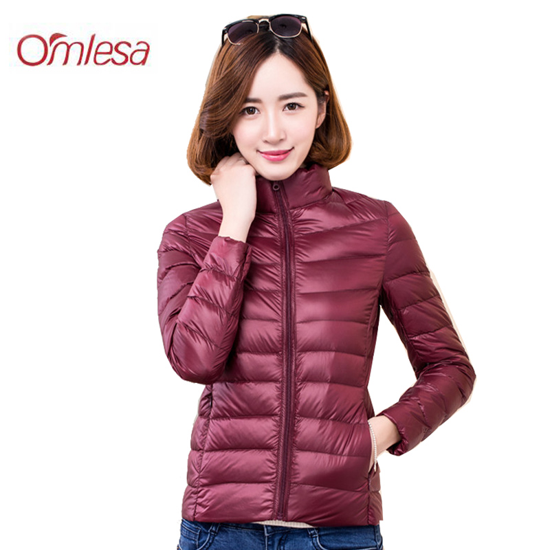 PZLCXH Winter Women Stand Collar 90% White Duck Down Jacket Female Ultra Light Down Jackets Slim Long Sleeve Parkas Solid ZB326