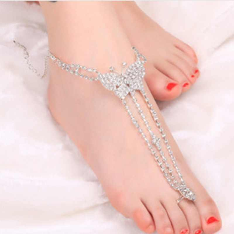 Hot 1 PCS Charming Women Butterfly with Toe Ring Foot Chain Rhinestone Barefoot Wedding Bride Anklets