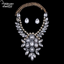 Dvacaman Brand 2016 Wedding Party Statement Crystal Flower Jewelry Sets Women Wholesale Cheap Indian Bridal Bijoux Accessory F16
