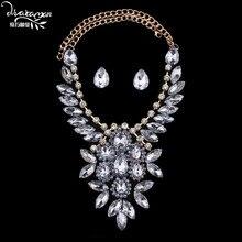 Dvacaman Brand 2016 Wedding Party Statement Crystal Flower Jewelry Sets Women Wholesale Cheap Indian Bridal Bijoux Accessory F16