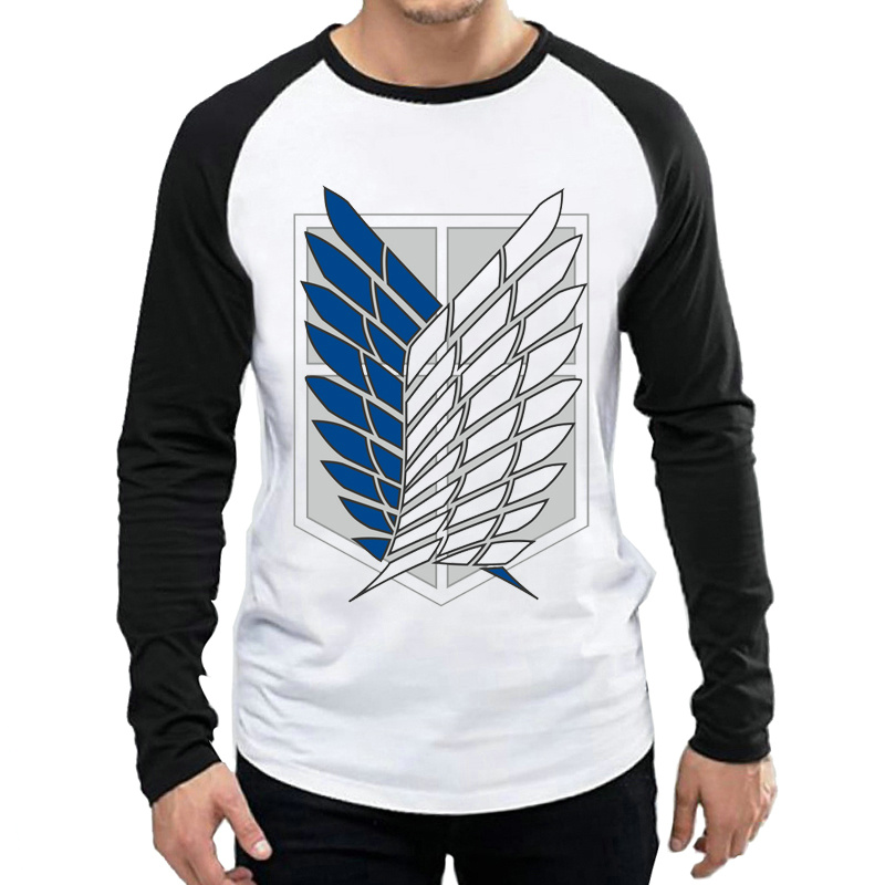 Attack On Titan T Shirt Long Sleeve Mens Trendy Anime Logo T-shirt Tops Tees tshirt White Full