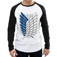 Attack On Titan T Shirt Long Sleeve Mens Trendy Anime Logo T-shirt Tops Tees tshirt White Full