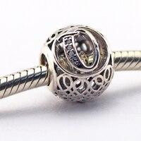 Encaixa pulseiras de Pandora Letra Q com limpar zircon prata beads 925 sterling silver jewelry 2016 nova primavera charme atacado