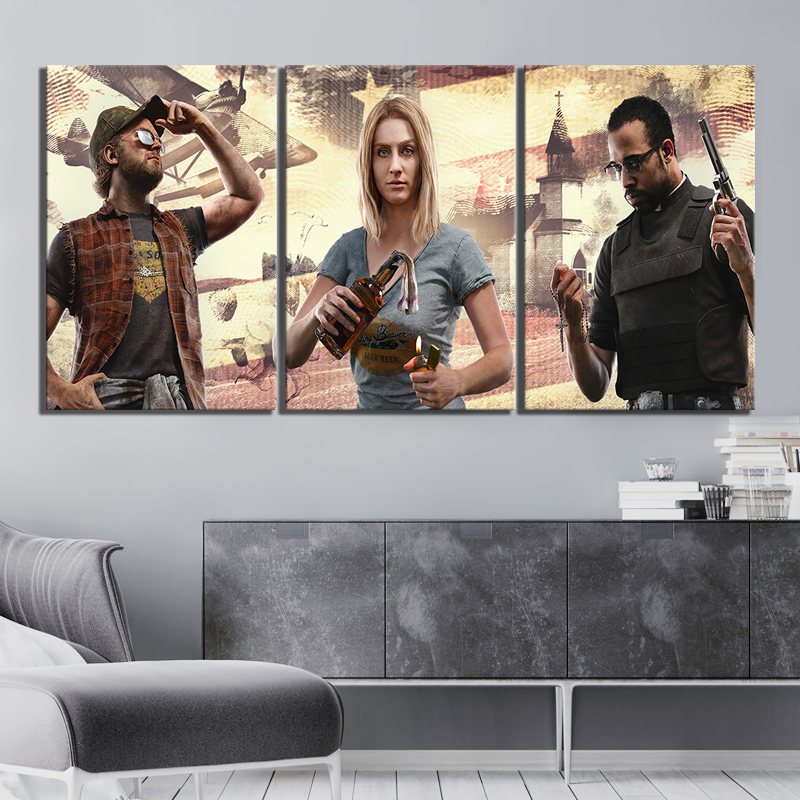 3 Piece HD Picture Far Cry 5 Shooting Game Poster Artwork Paintings Fantasy Wall Art Canvas Paintings for Home Decor image