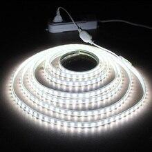 LAIMAIK إضاءة مقاومة للماء قطاع IP65 LED الشريط 120 المصابيح/م سلسلة أضواء SMD2835 مرنة ضوء مصباح الحديقة اثنين صف شرائط ليد 220 فولت