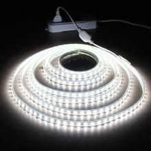 LAIMAIK Impermeabile HA CONDOTTO la striscia IP65 HA CONDOTTO nastro 120 LEDs/M luci Della Stringa di SMD2835 flessibile lampada Da Giardino luce Due Fila strisce di LED 220V