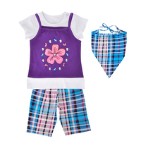 Baby Girl Clothing Set New Summer Girls Clothes Flower Suspender Top White T Shirt Plaid Pants