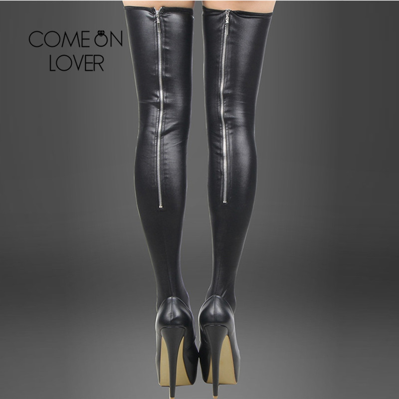 Comeonlover Black Leather Stockings Erotic Back Zipper Women Thigh High Stockings Sexy Lady Trendy Leg Wear Stocking Boots