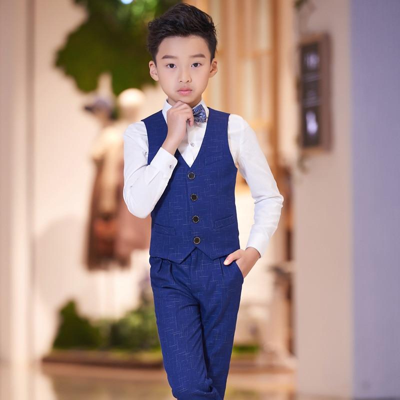T016 New suit host Boy 's jacket suit performance children's piano costumes T-shirt +Trousers+Vest+ Bowtie 4pcs Boy Vest Suit new i to n3 cb 016