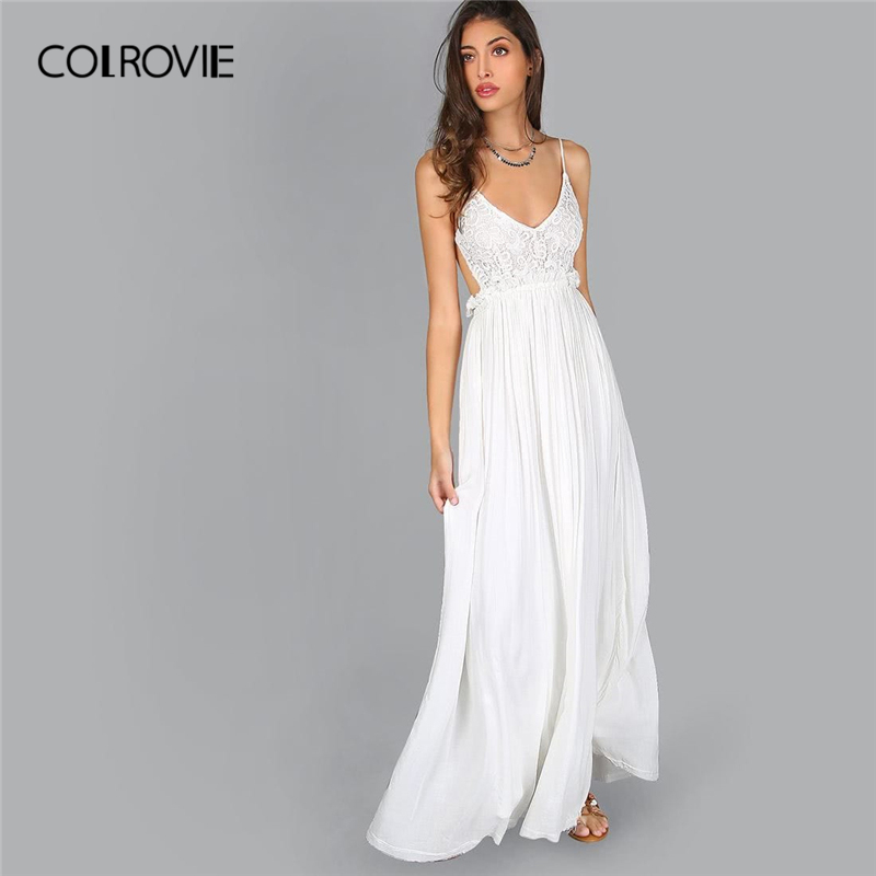 COLROVIE White V Neck Lace Overlay Backless Pleated Party Maxi Dress Women 2019 Sleeveless Sexy Vestidos Female Slip Dresses