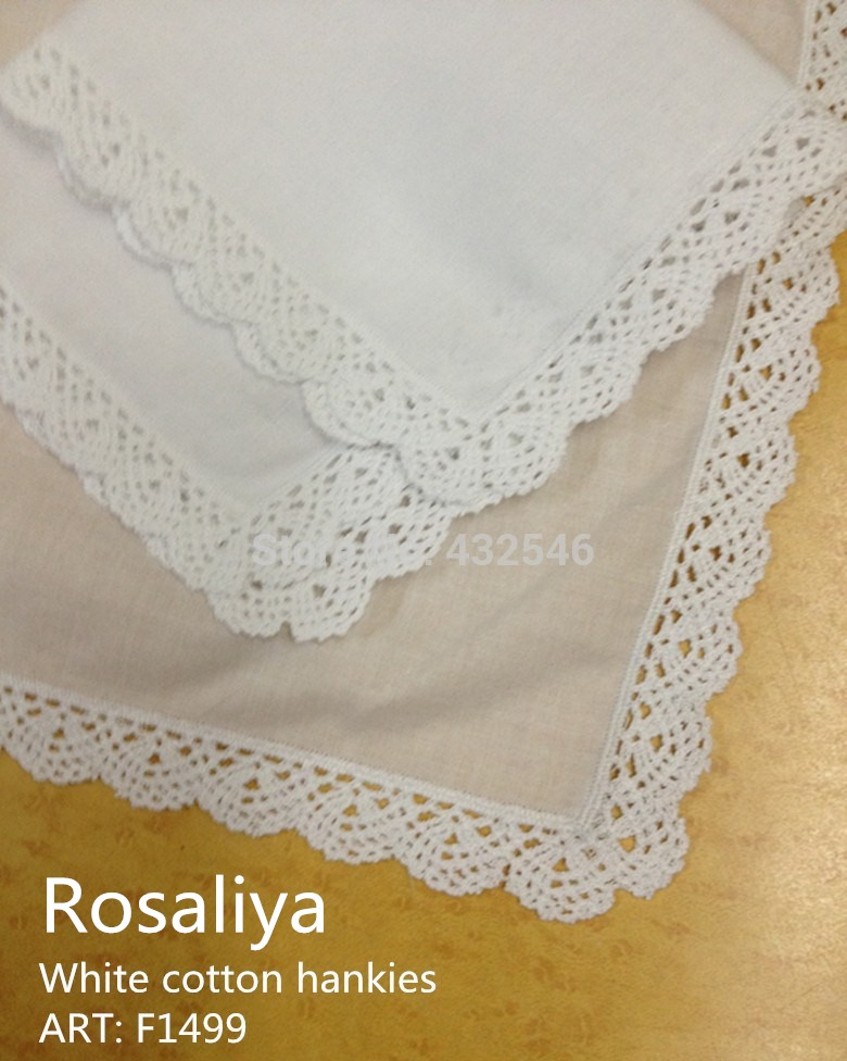 "Set Of 100 Fashion Ladies Handkerchiefs 12""inch White Cotton Wedding Handkerchief With Crochet Lace Edges Hankie Hanky For Bride"
