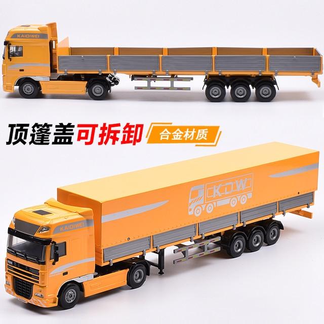 Alloy engineering truck model Cloak flatbed truck semi-trailer children's toy car W101