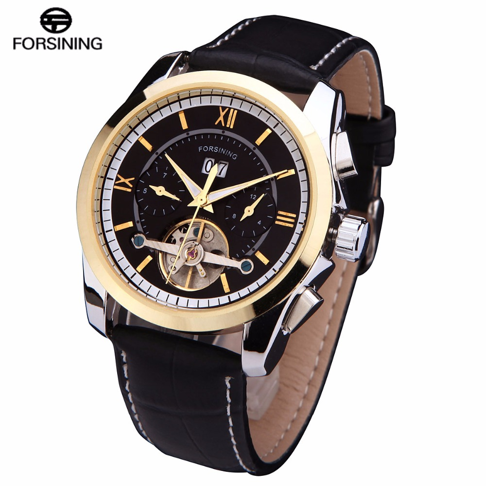 Tourbillion 2016 FORSINING luxury brand men Mechanical automatic self wind fashion casual date male watches genuine Leather band