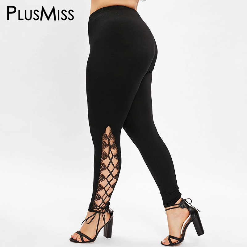 PlusMiss Plus Size 5XL High Waist Skinny Sexy Lace Up   Leggings   Women XXXXL XXXL XXL Fitness Leggins Pants Legins Black Jeggings