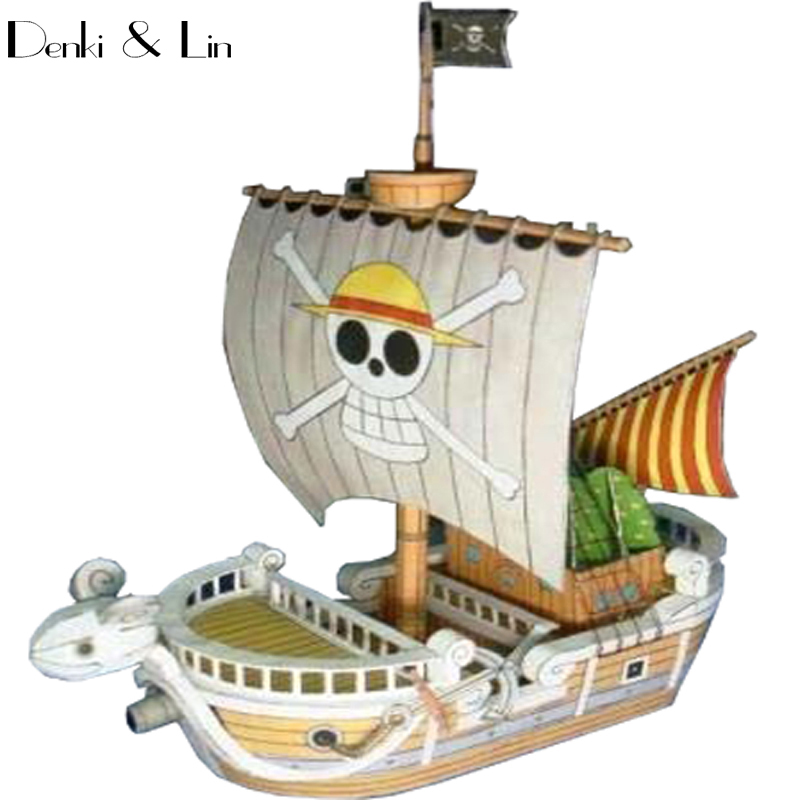 1:300 3D15cm One Piece Going Merry Sailboat Ship  Paper Model Assemble Action Figure Puzzle Game DIY Kid Toy Denki & Lin