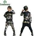 Crianças Hip Hop Roupas de Camuflagem Com Capuz Terno do Esporte das Crianças para As Meninas Dançam Traje Camisola + harem pants Meninos Treino