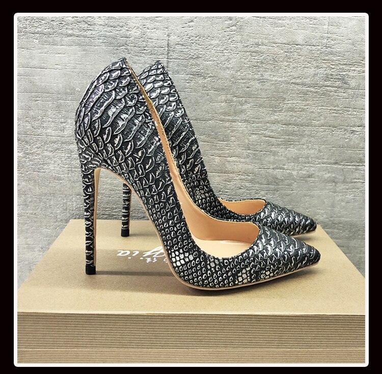 Keshangjia Top Quality High Heels Snake Printing Women Shoes Stiletto 12 CM Heel Height Wedding Party