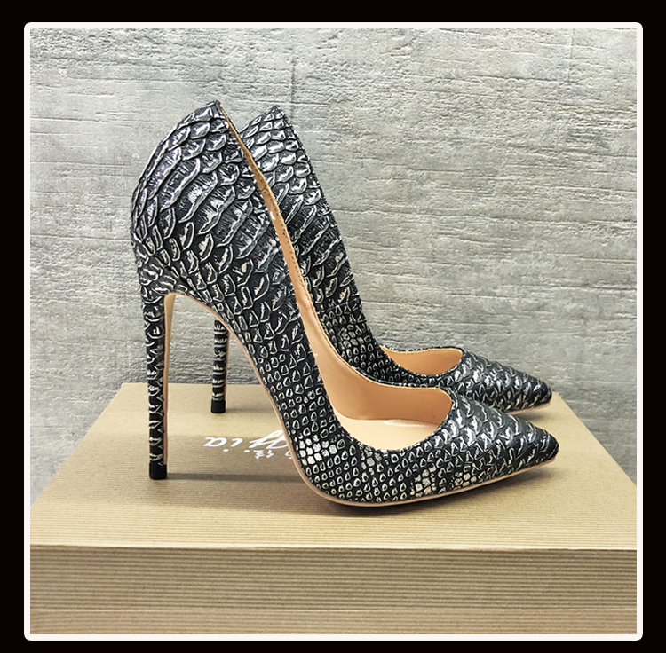 Keshangjia najwyższej jakości wysokie obcasy wąż drukowanie damskie buty szpilki 12 CM wysokość obcasa Wedding Party Sexy kobiety pompy w Buty damskie na słupku od Buty na  Grupa 1