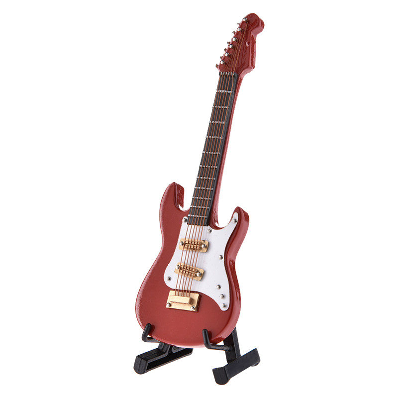 New Mini Electric Guitar Red Guitarra Model With Gift Box + Holder Musical Instruments Decorative Ornaments Support Wholesale custom shop limited run curly es 335 electric guitar with transparent red finished jazz guitars china musical instruments