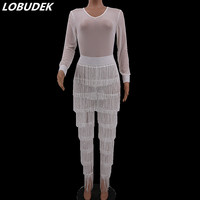 Autumn Women White Tassels Jumpsuit Sexy Mesh See through Bodysuits Nightclub Perspective Stage Outfit Singer Party DJ Costumes