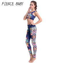 Ethnic Geometry Women Yoga Sports Set Exercise Clothing Fitness Set Woman Sport Sleeveless Breathable Top Legging Workout Gym