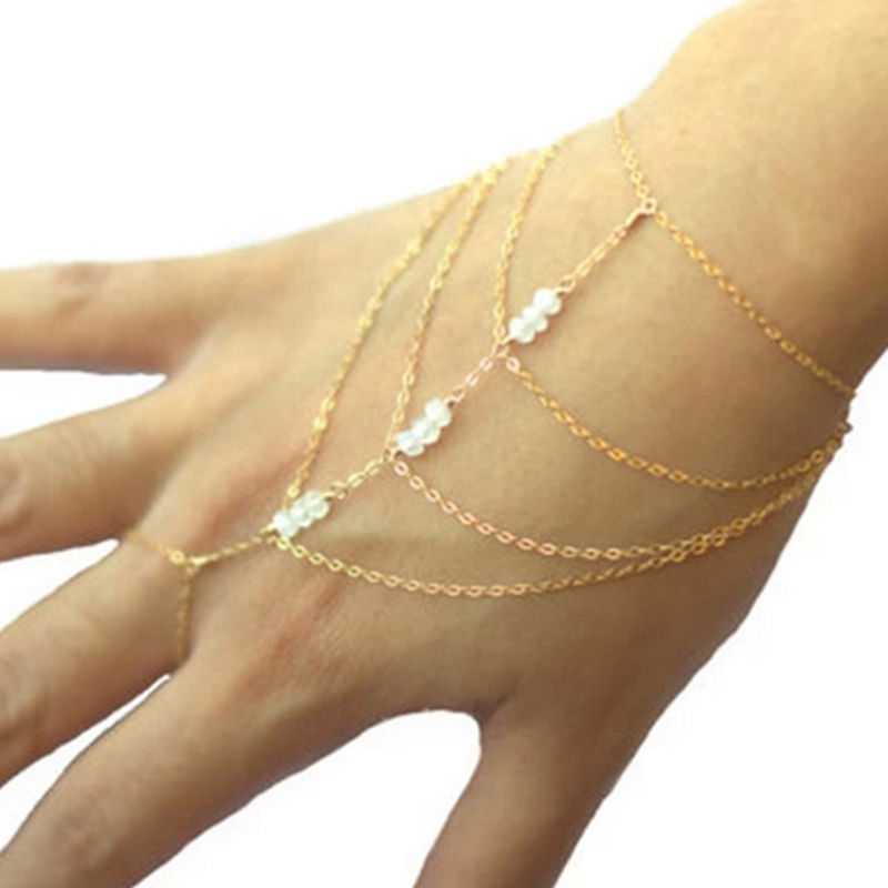 98ed4181201e 1 pc borla pulsera brazalete de mano arnés oro esclavo celebridad Multi  Cadena de joyería fina en Brazaletes de puño de Joyería y accesorios en ...