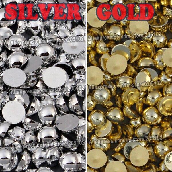 Mix Farben Größen Silber Gold Halbrund FlatBack Perle Perle, 2mm - Kunst, Handwerk und Nähen - Foto 2
