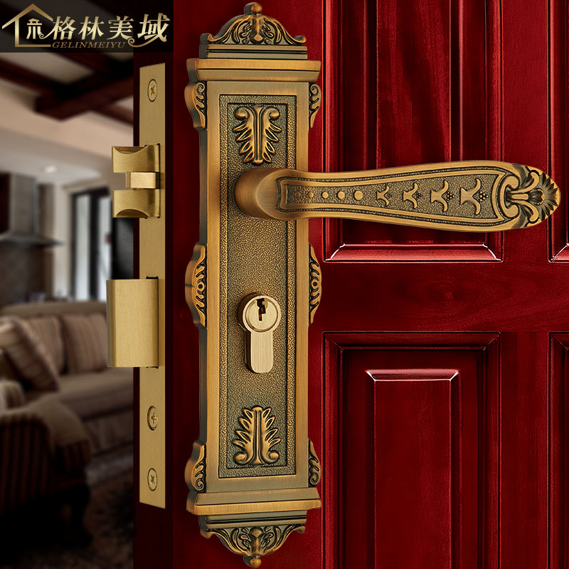 European-style copper door lock door lock interior door lock copper lock copper bedroom door lock ceramic lock the door when indoor european ball lock hold hand lock copper core ss