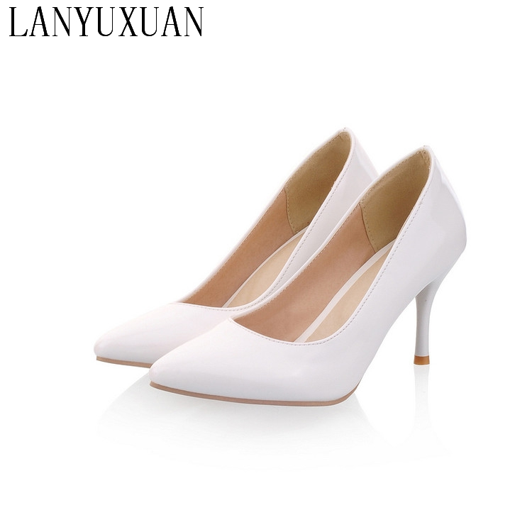 Plus Big Size 34-47 Shoes Woman 2017 New Arrival Wedding Ladies High Heel Fashion Sweet Dress Pointed Toe Women Pumps A-3(China)