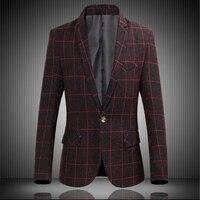 Spring New , 2018 England Fashion Gentleman Long Sleeves Single Button Blazers men Plus size 6XL , Big plaid brand business Suit